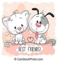 Süße Katze und Hund.