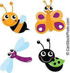 Süße kleine Cartoon-Käfer, isoliert auf weiß