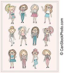 Süße kleine Modemädchen