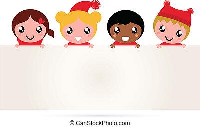 Süße multikulturelle Weihnachtskinder-Banner