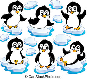 Süße Pinguine sammeln zwei