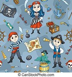Süße Piraten, blau, nahtlos