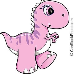 Süße rosa Dinosaurier-Vektorkunst.