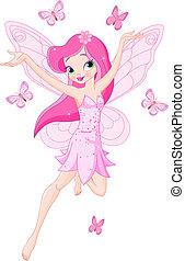 Süße rosa Frühlingsfee