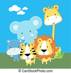 Süße Safari-Babytiere.