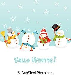 Süße Schneemänner feiern Schnee.