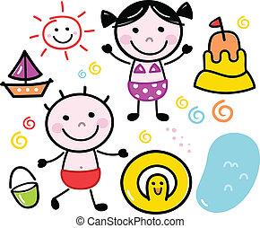 Süße Sommerdoodle-Kids, isoliert auf weiß gestellt