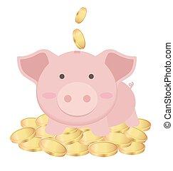Süße Sparschweine stehen auf vielen Goldmünzen, sparen Konzept.