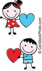 Süße Strichfiguren, die Valentinsherzen halten