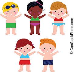 Süße Summer Kids im Badeanzug isoliert auf weiß