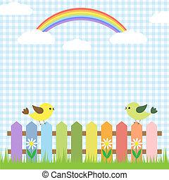 Süße Vögel und Regenbogen