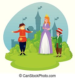 Süße Vogelscheuche mit Prinzessin und Magier