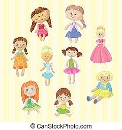 Süße weibliche Puppen, hübsches Spielzeug für kleine Mädchen Cartoon Vektor Illustrations.
