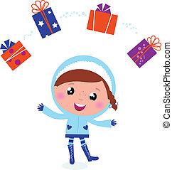 Süße Winterkinder jonglieren mit weihnachtlichen Geschenken