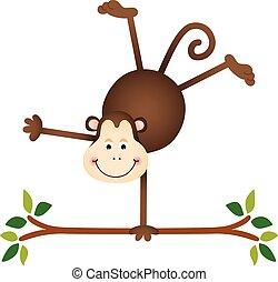 Süßer Affe auf einem Baum.