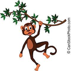 Süßer Affe auf einem Baum