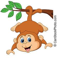 Süßer Affe hängt an einem Baum-BHnc