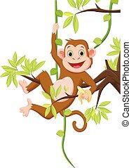 Süßer Affe hängt an einem Baum und hält Banane.
