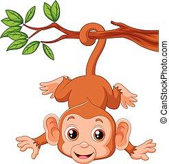 Süßer Affe hängt an einem Baum.