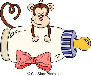 Süßer Affe mit Milchflasche.