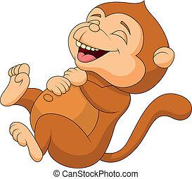 Süßer Affen-Zeichen-Lachen
