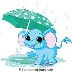 Süßer Baby-Elefant unter Regenschirm.