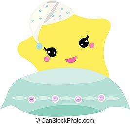 Süßer Babystern mit Kissen in Hight Hut. Vector Illustration für das Kinderzimmerdesign. Gute Nacht, süße Träume