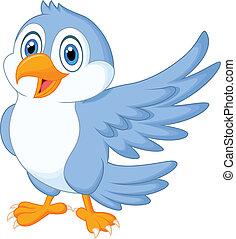 Süßer blauer Vogel-Cartoon winkt.