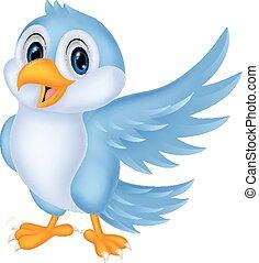 Süßer Cartoon Blue Bird winkt.