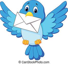 Süßer Cartoonvogel, der Brief liefert