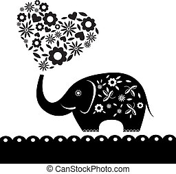 Süßer Elefant mit Blumen. Herzkarte