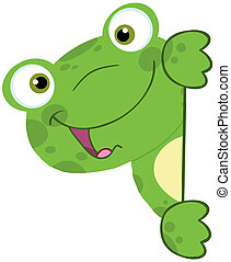 Süßer Frosch, der hinter dem leeren Schild lächelt