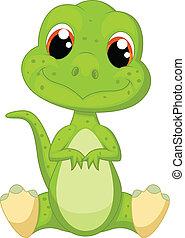 Süßer grüner Dinosaurier Cartoon