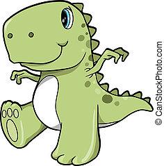Süßer grüner Dinosaurier-T-rex-Vektor