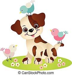 Süßer Hund mit drei Vögeln.