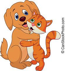 Süßer Hund und Katze umarmen sich gegenseitig