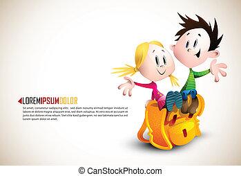 Süßer Junge und Mädchen sitzen auf Schultaschen