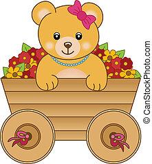 Süßer kleiner Bär in der Cart-Blume