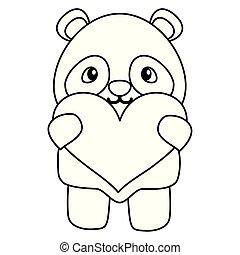 Süßer kleiner Bär Panda mit Herzliebe.
