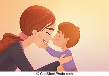 Süßer kleiner Junge küsst seine glückliche Mutter Cartoon Vektorgrafik.