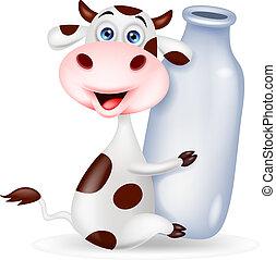 Süßer Kuh-Karikatur mit Milchflasche