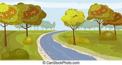 Süßer Landschaftswald Fluss, Bäume am Ufer, Vektor, Illustration, isoliert.