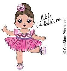 Süßer Mädchentänzer mit dem Schreiben der kleinen Ballerina. Kleine Tanzballerina in einem rosa Kleid, isoliert auf weißem Hintergrund. Perfekt für Stoff oder Kinderzimmer.