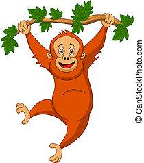 Süßer orangutanischer Cartoon hängt an einem