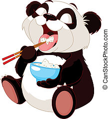 Süßer Panda isst Reis