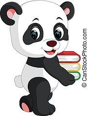 Süßer Panda mit Büchern.