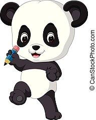 Süßer Panda mit Bleistift.