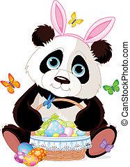 Süßer Panda mit Osterkorb.