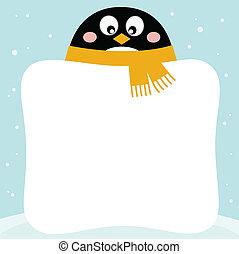 Süßer Pinguin mit Winter-Banner