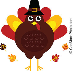 Süßer Retro Thanksgiving Truthahn mit Hut isoliert auf weiß